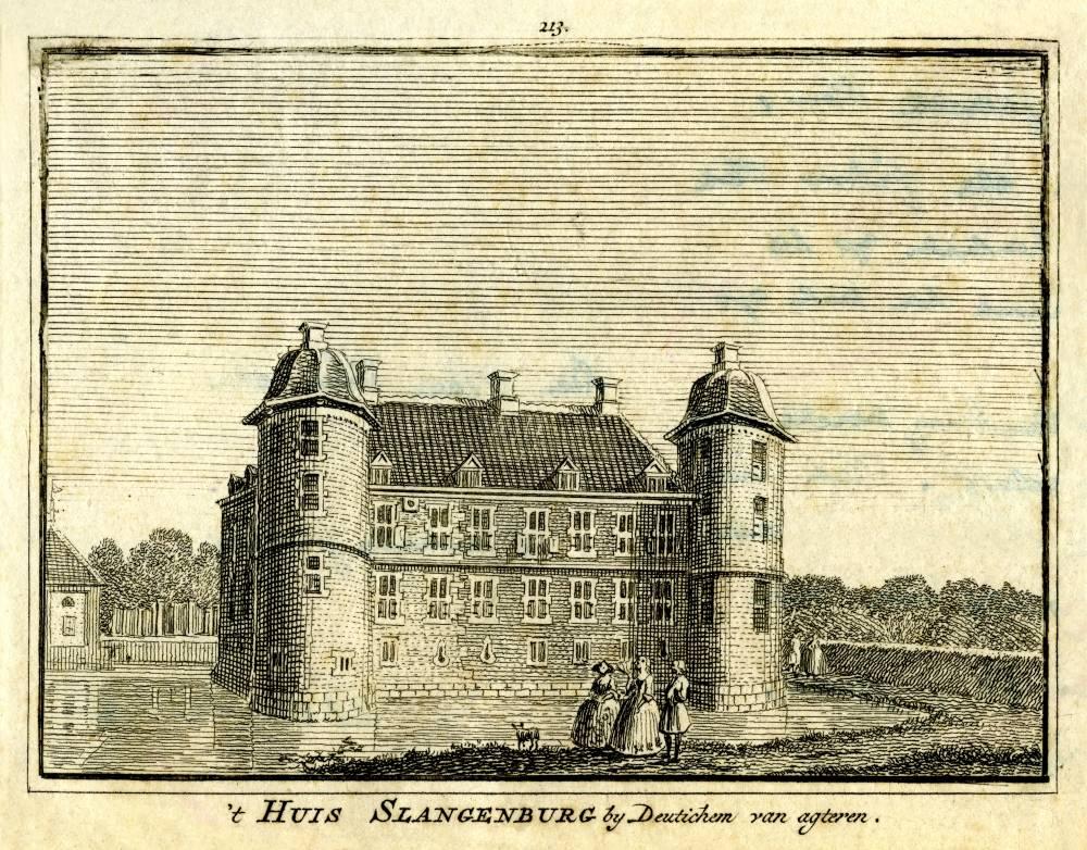 Kasteel Slangenburg in Doetinchem. Tekening Jan de Beijer, gravure Hendrik Spilman (Uit: Het Verheerlykt Nederland, Isaac Tirion, 1745/1774)